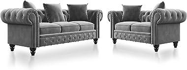 Tufted Velvet Upholstered Loveseat Sofa Classic Velvet Scroll Arm Tufted Button Chesterfield Sofa Set,Couch Sectional Sleeper