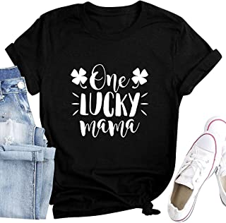 ZJP Women Crew Neck One Lucky Mama Letter Print Short Sleeve T-Shirt Tops Blouse