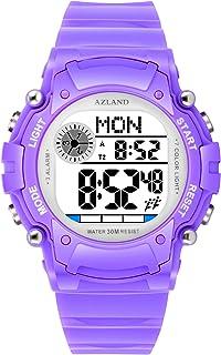 AZLAND 3 Multiple Alarms Reminder Sports Kids Wristwatch Waterproof Boys Girls Digital Watches Camo