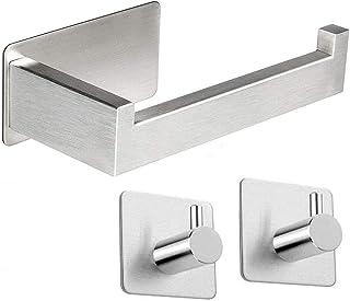 Qeekzeel uchwyt na rolkę toaletową, samoprzylepne haczyki szczotkowana stal nierdzewna przyklejana na ścianie uchwyt na pa...
