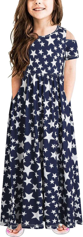 KASOYA Girl's Dresses Casual Cold Shoulder Floral Print Loose Long Maxi Dress with Pockets