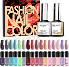 Modelones Gel Nail Polish Set,Autumn Nude Pastel Grey Red Blue Pink Gel Polish,10ml Gel Top and Base Coat,16 Colors 6ml Na...