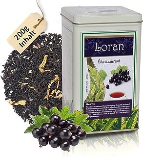 LORAN - Schwarzer Tee mit schwarze Johannisbeere 200g, Premium Qualität, Ceylon Tee aus Sri Lanka, lose in Dose, schwarze Johannisbeeren, Ringelblumenblüten und schwarze Johannisbeere-Aroma