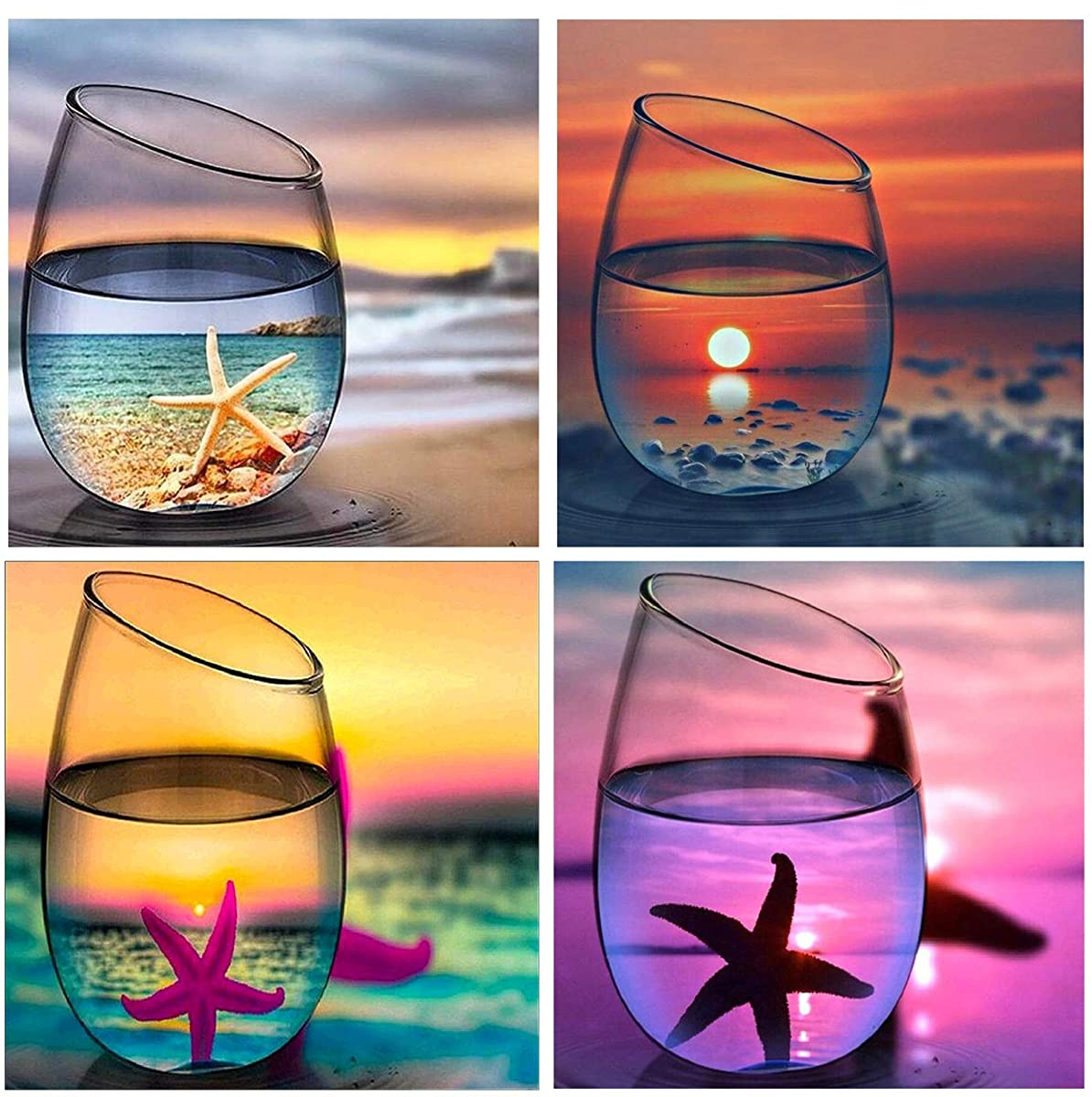5D Full Drill Diamond Painting Kit,Hartop DIY Diamond Rhinestone Painting Kits Ocean Cups for Adults and Beginner,Embroidery Arts Craft Home Office Decor, 12X12 Inch