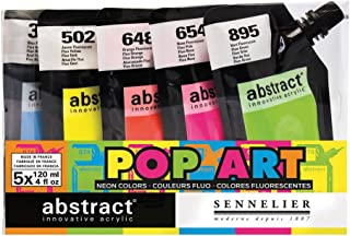 Sennelier Abstract Innovative Heavy Body Acrylic Paint, 120ml Pouch, Fluorescent Color Set of 5