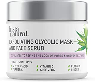 InstaNatural Exfoliating Glycolic Face Mask & Facial Scrub - Acne & Blackhead Treatment for Brightening and Exfoliation wi...