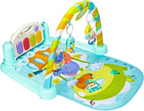 Christoy Baby Play Gym Kick and Play Mat Newborn Activity Gym Lay & Play 3 in 1 Fitness Music and Lights Fun Piano (Blue)