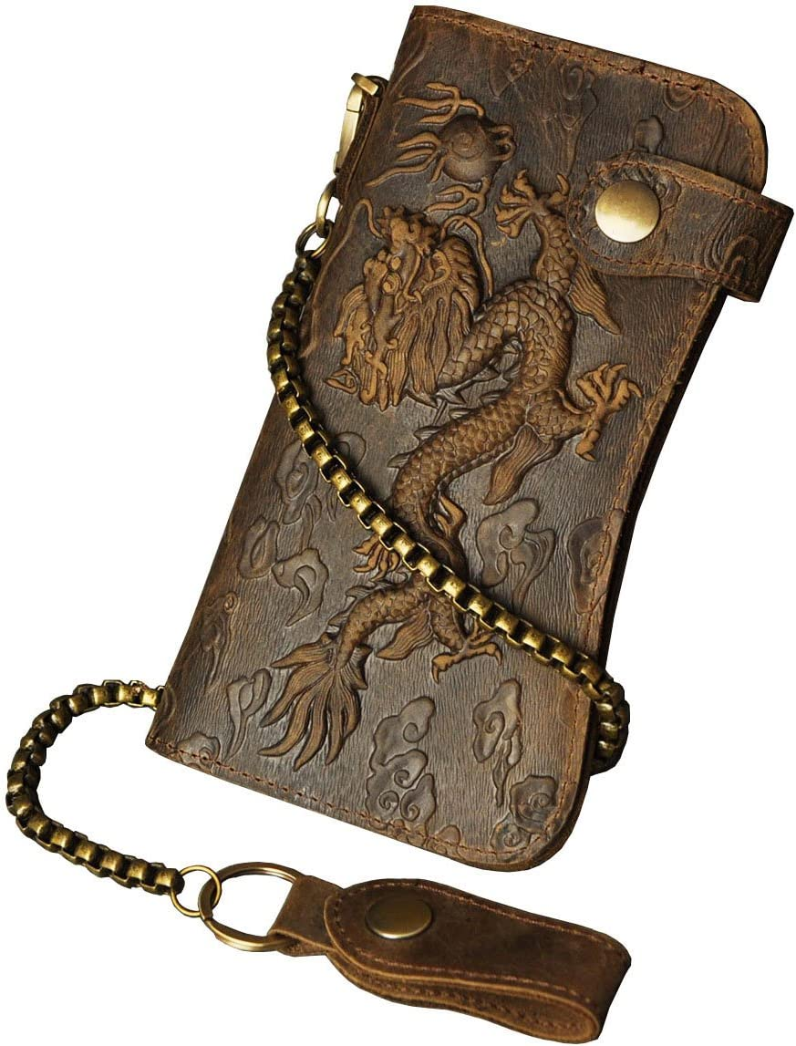 Le'aokuu Mens Genuine Leather Bifold Wallet Organizer Checkbook Iron Chain (1088 Dragon Light Brown)