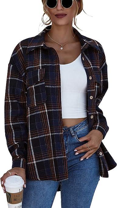 Camisa a Cuadros para Mujer de Manga Larga con Botones de Franela Suave Abrigo de Chaqueta Camisa a Cuadros Casual Moda