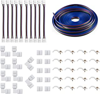 5050 4Pin LED Strip Connector Kit - 10mm RGB LED Connector Kit includes 32.8FT RGB Extension Cable, 10x LED Strip Jumper, 10x L Shape Connectors, 10x Gapless Connectors, 20x LED Strip Clips