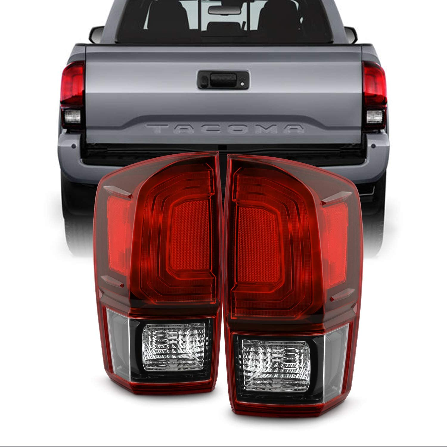 Fits 2016-2020 Toyota Tacoma Pickup Truck Black Red Clear Tail Light Driver Left Side Taillamp Replacement