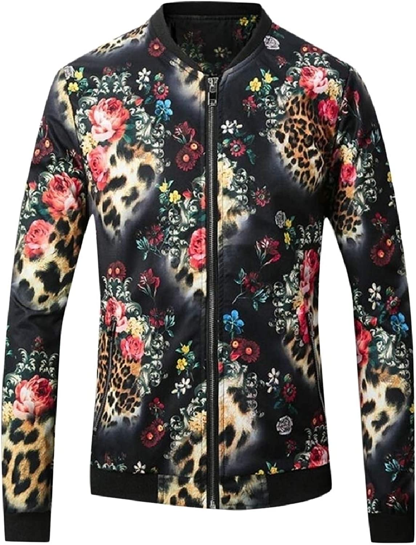 2f7b85a48 LEISHOP Men's Fashion Fashion Fashion Lightweight Long Sleeve Print Zipper Slim  Fit Jackets f7580c