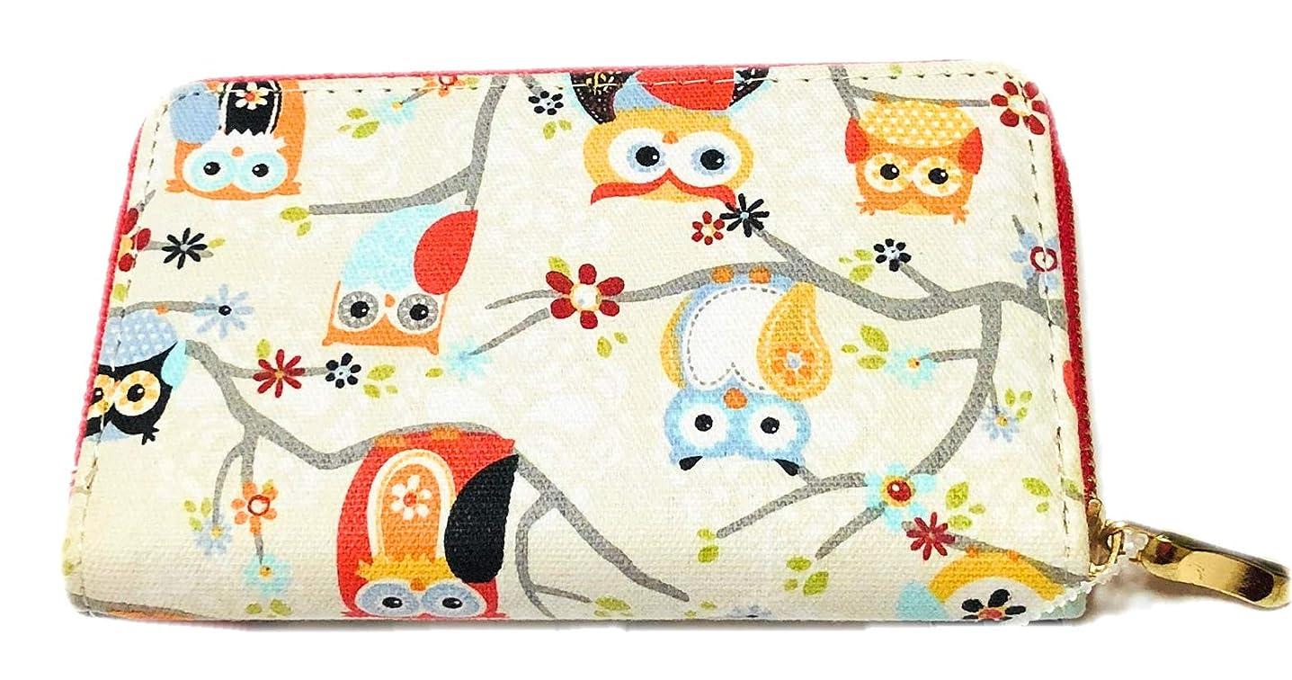 姿勢アイロニーリフレッシュ財布 レディース フクロウ 可愛い 小さい オフホワイト おしゃれ
