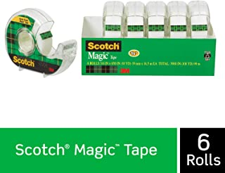 Scotch Brand 6122 Magic Tape, 6 Dispensered Rolls, Writeable, Invisible, The Original, Engineered for Repairing, Great for Gift Wrapping, 3/4 x 650 Inches