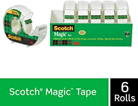 Scotch Brand Magic Tape, 6 Dispensered Rolls, Writeable, Invisible, The Original, Engineered for Repairing, Great for Gift Wrapping, 3/4 x 650 Inches (6122), Transparent