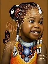 Darmeng DIY 5D Diamond Painting African American, Girl Goddess Full Drill Paint with Diamonds Art by Number Kits Cross Sti...