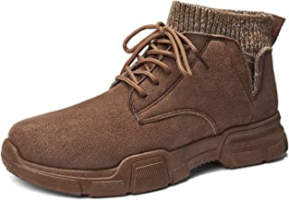 WSGZH Dessert Plates Ceramic Casual Boot Cheville Mode Hommes d'hiver Suede Ronde Toe Lacets Antiglisse Léger Chaud Keep (...