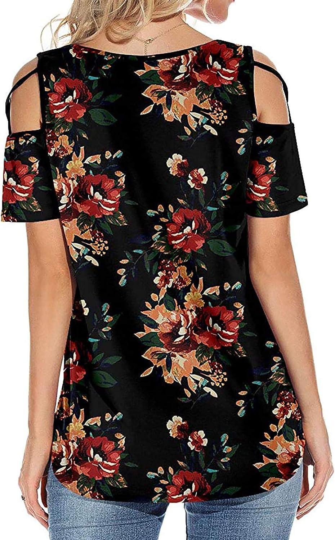 Women's Shirts Blouse Short Sleeve Plus Size Print Flowy Top Summer T Shirts Cold Shoulder Athletic