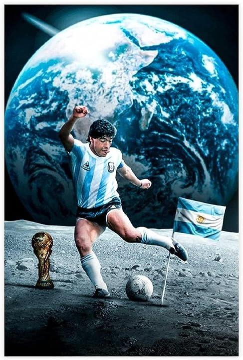 Quadro maradona sulla luna senza cornice 60 * 90cm maradona on the moon fegasdf 9873364233756