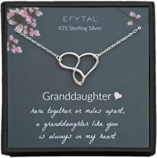 EFYTAL Gift for Granddaughter, 925 Sterling Silver Infinity/Heart Necklace from Grandmother, Gifts for Girls, Best Birthda...
