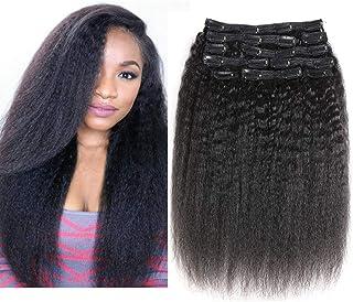YAMI Kinky Yaki Straight Clip in Human Hair Extensions Triple Weft Brazilian Virgin Clip Hair Top Grade 10A 10Pieces/set f...