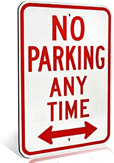 Reserved Private Property No Parking Anytime Aluminum Metal Sign with Arrow for Private Driveway and Streets | Engineer Grade Ultra Reflective | Heavy Duty Dibond Aluminum with