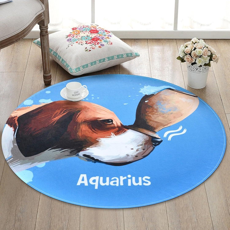 CKH Fashion Aquarius Zodiac Round Carpet Bedroom Room Basket Round Blanket Home Computer Chair Mat (Size   Diameter 120cm)