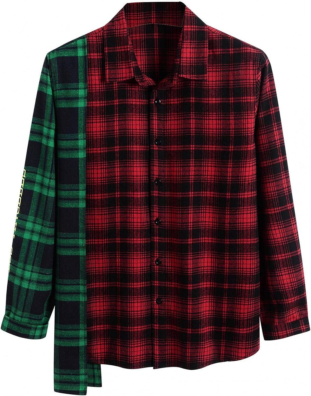 Burband Unisex Cozy Cotton Patchwork Flannel Shirts Irregular Hem Oversized Plaid Boyfriend Flannel Button Down Shirts
