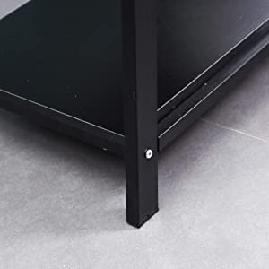 DlandHome 120 * 60cm Scrivania con scaffali Tavolo per Computer Scrivanie e postazioni di Lavoro/Scrittura per Casa/Ufficio, Nero & Nero
