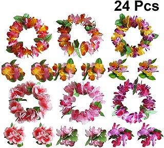 STOBOK 24pcs Hawaiian Flower Headband Wristband Set Tropical Luau Headpiece Bracelet for Summer Hula Wedding Birthday Theme Party Supplies (Mixed Color)