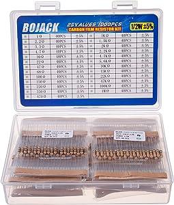 BOJACK 1000 Pcs 25 Values Resistor Kit 1 Ohm-1M Ohm with 5% 1/2W Carbon Film Resistors Assortment