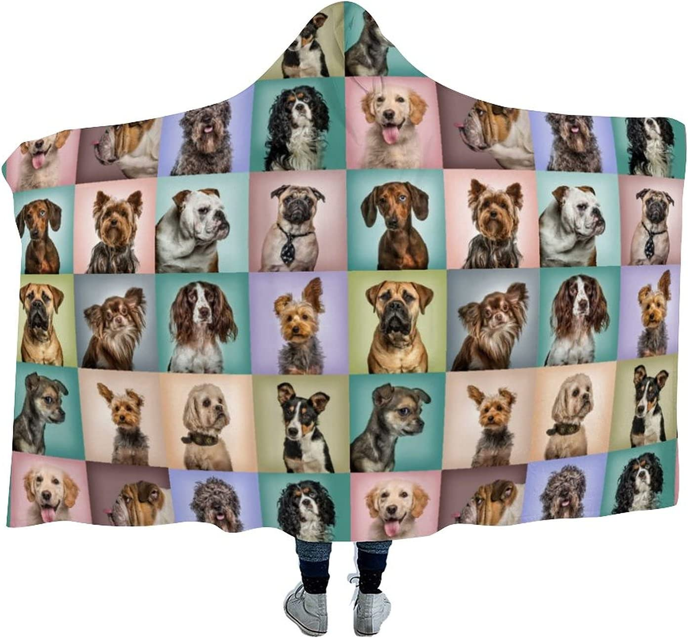 OFFer Composition San Antonio Mall of Dogs Wearable Hooded for Soft Blanket Cloak Watch