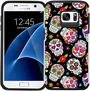 Galaxy S7 Case, Dual Layer Shock Proof Bumper Protective Phone Cover - Sugar Skull