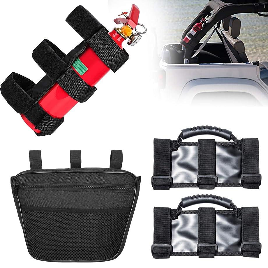 Danti Jeep Wrangler Fire Extinguisher Holder, Roll Bar Grab Handles, Dashboard Organizer Pouch Bag Storage for JK JL JKU TJ YJ CJ 1965-2019