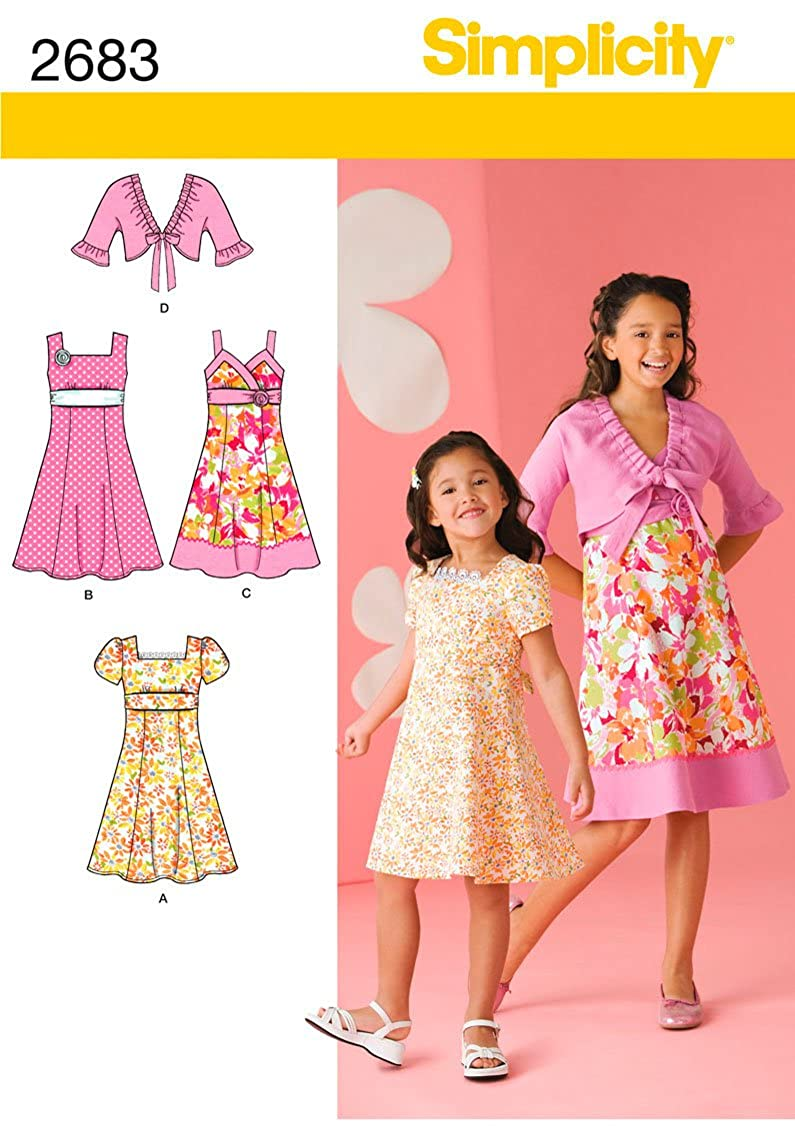 Simplicity Sewing Pattern 2683 Girls Dress with Bodice Variations and Jacket Sizes HH (3-4-5-6)