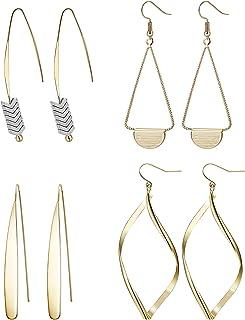 Hanpabum 4 Pairs Curved Threader Dangle Earrings for Women Girls Drop Hoop Bar Arrow Statement Earrings Set