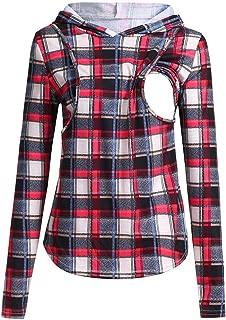 Women's Maternity Nursing Hoodie Sweatshirt, MOHOLL Comfort Plaid Long Sleeve Pullover Breastfeeding Casual Hoodies Tops