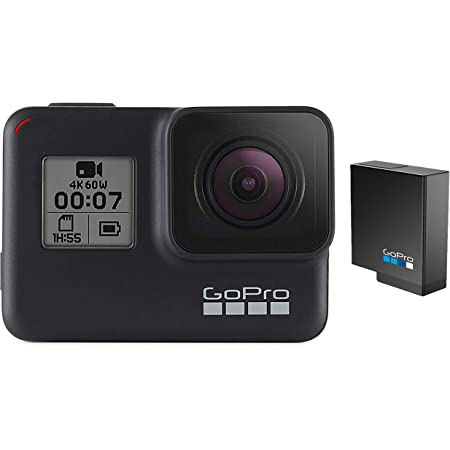 GoPro HERO7 Black + Extra Battery - E-Commerce Packaging - Waterproof Digital Action Camera with Touch Screen 4K HD Video 12MP Photos Live Streaming Stabilization