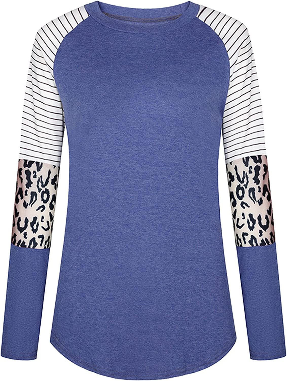 Andongnywell Women?s Leopard Printed Color Block Casual Tunic Blouse Round Neck Pullover Long Sleeve T Shirt Tops