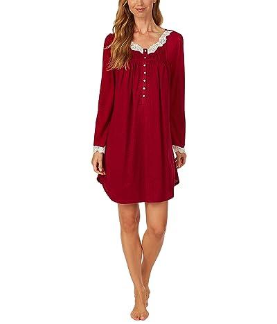 Eileen West Sweater Knit Short Nightgown (Wine) Women