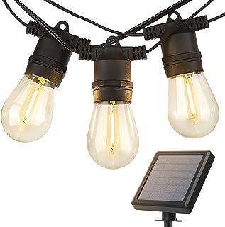 addlon 27FT Solar String Lights Outdoor, Commercial Grade LED Solar Café Patio Lights, Porch Market Light, Waterproof and ...