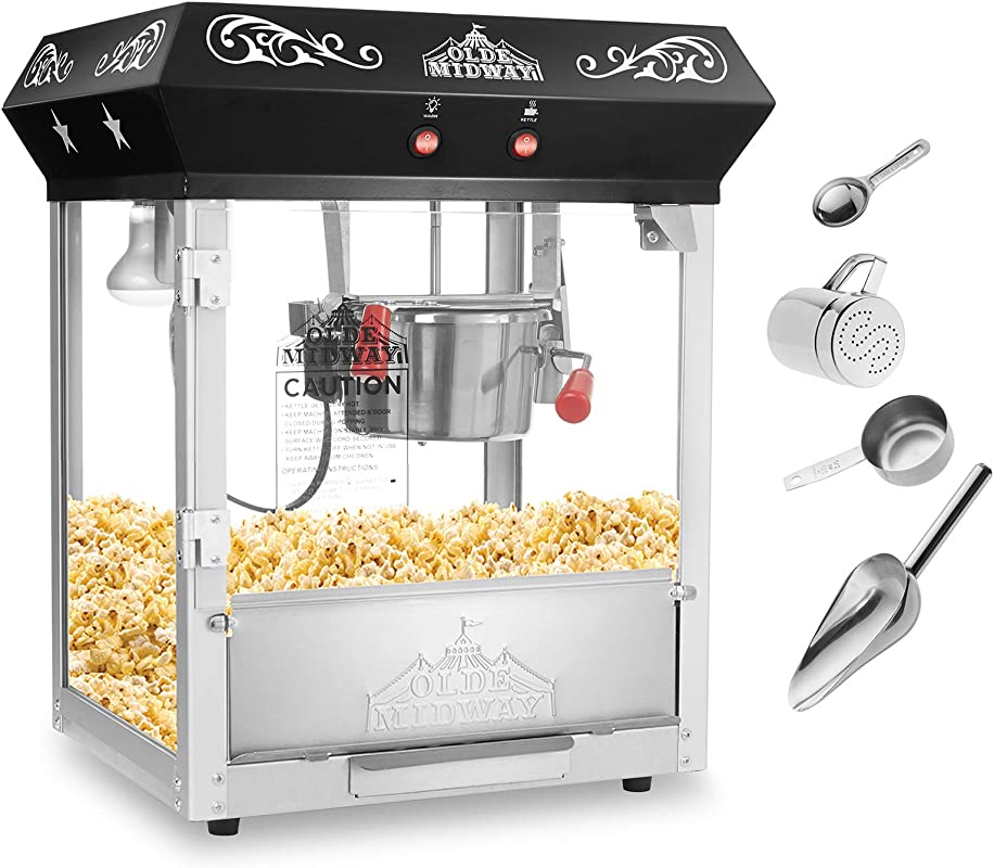 Olde Midway Bar Style Popcorn Machine Maker Popper With 6 Ounce Kettle Black