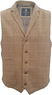 Cavani Mens Check Miles Herringbone Slim Fit Waistcoat Brown