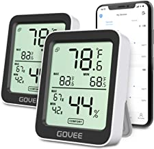 Govee Temperature Humidity Monitor 2 Pack, Indoor Bluetooth Temperature Sensor with Notification Alert, Max Min Records, 2...