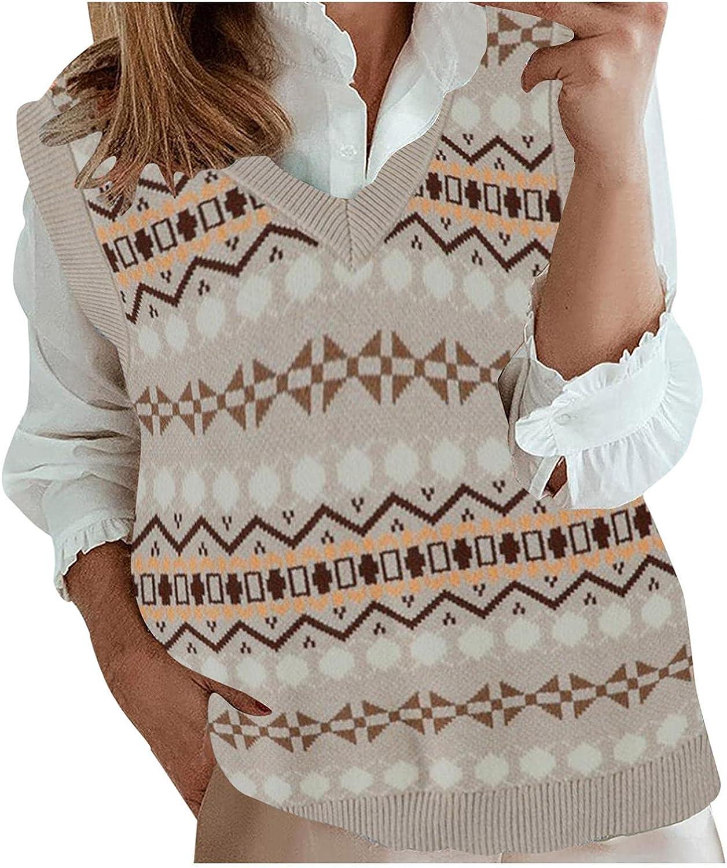 Hemlock Women Retro Floral Sweater Vest V Neck Knit Tops Sleeveless Knitwear Coat Outwear