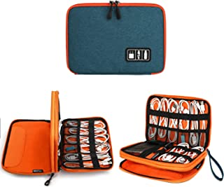 Electronics Organizer, Jelly Comb Electronic Accessories Cable Organizer Bag Waterproof Travel Cable Storage Bag for Charging Cable, Cellphone, Mini Tablet (Up to 7.9'') and More (Orange and Blue)