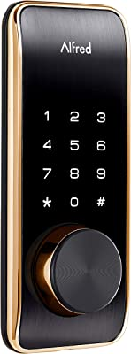Alfred DB2-B Smart Door Lock Deadbolt Touchscreen Keypad, Pin Code + Key Entry + Bluetooth, Up to 20 Pin Codes (Gold)