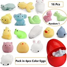 LightAngel 16pcs Squishy Toys Filled Easter Eggs,Easter Basket Stuffer Fillers,Food Grade Prefilled Easter Eggs with Surprise Funny Toys,Prize Rewards for kids,Soft Stress Relief