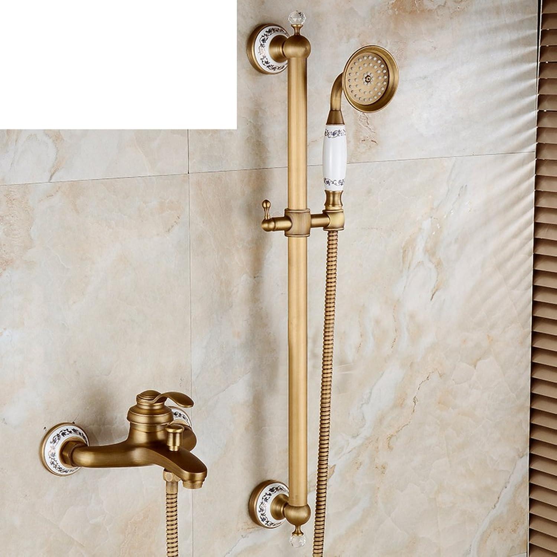 Antique Simple Shower Vintage Bathtub Faucet Copper European Ceramic Adjustable Shower Head-M
