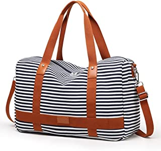 Canvas Overnight Bag for Women Ladies Weekender Travel Bag Carry-on Duffel Tote  Luggage fdaae22605fa9